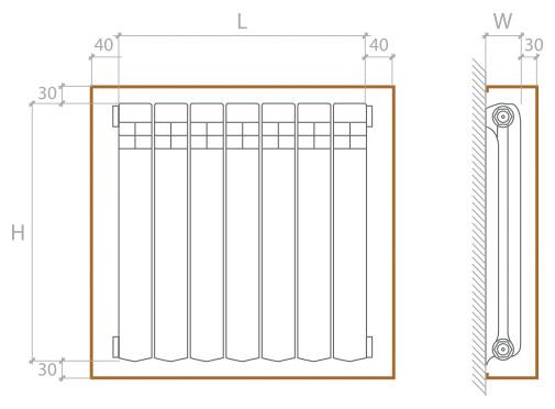 Замер батареи для установки экрана с коробом серии Антик